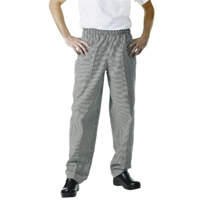 Chef Works Unisex Easyfit Trousers Small Black Check  4XL