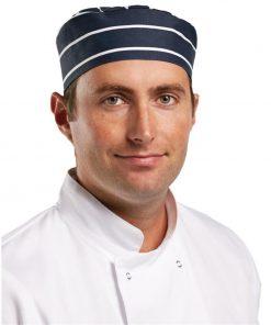 Whites Chefs Skull Cap Blue and White Butchers Stripe