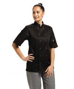 Whites Vegas Unisex Chef Jacket Short Sleeve Black - XL