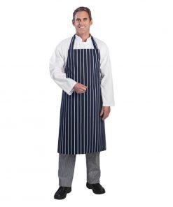 Whites Unisex Bib Apron Butchers Stripe Blue