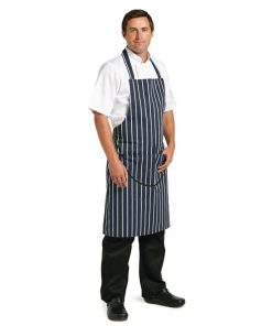 Whites Unisex Butchers Apron   Navy Stripe with Pocket