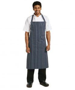 Whites Unisex Butchers Apron   Navy Stripe Extra Large