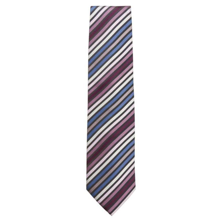 Uniform Works Tie Blue Skinny Stripe