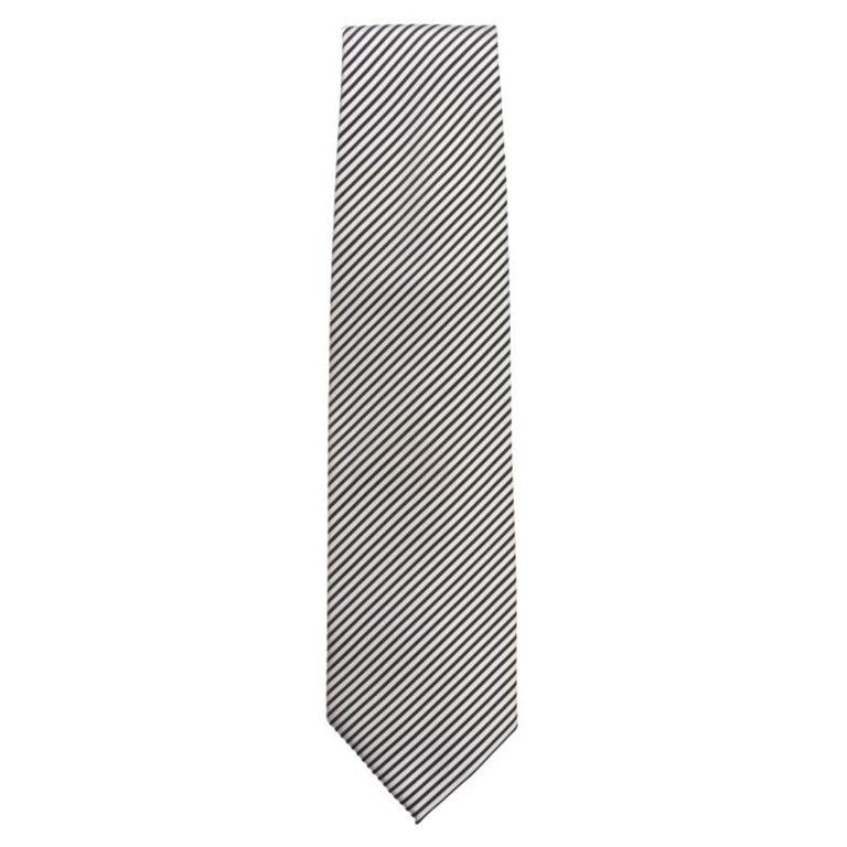 Uniform Works Tie Silver and Black Fine Stripe