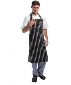 Whites Unisex Bib Apron Butchers Stripe Black