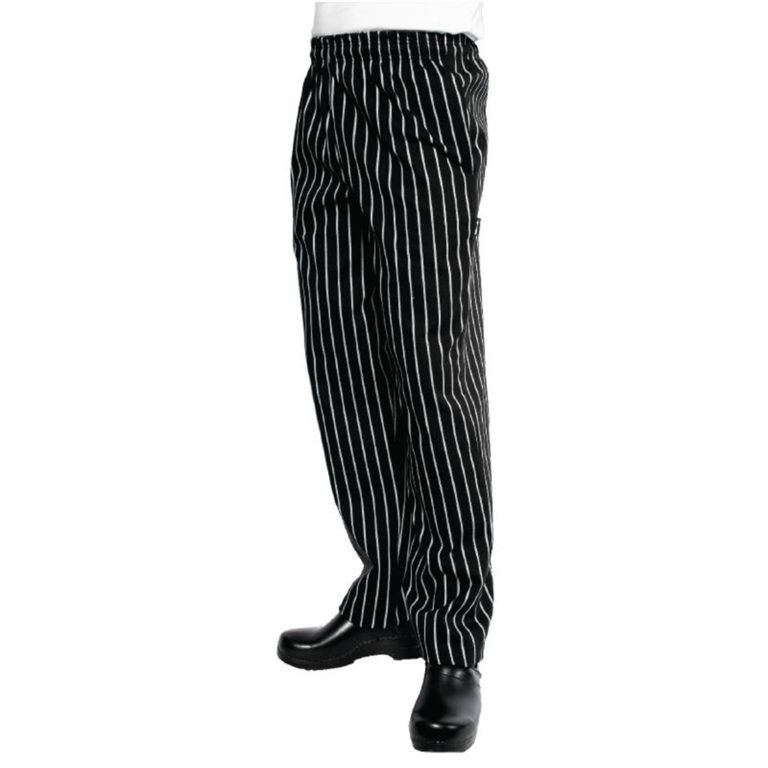Chef Works Unisex Easyfit Chefs Trousers Black and White Striped 2XL