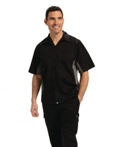 Chef Works Unisex Contrast Shirt Black and Grey M