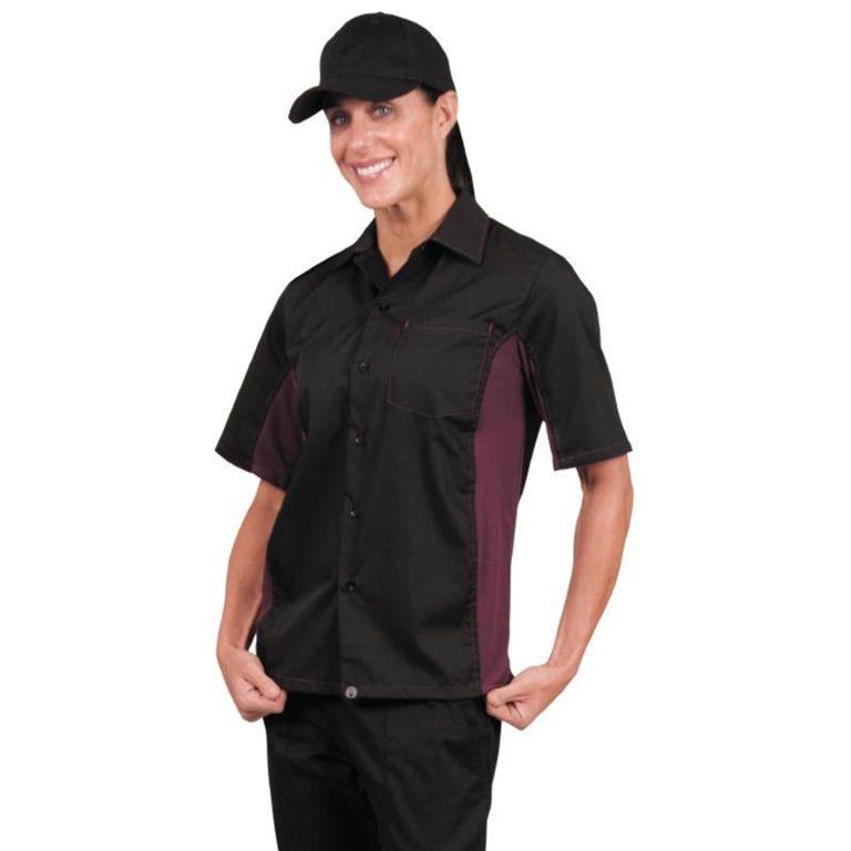 Chef Works Unisex Contrast Shirt Black and Merlot XL