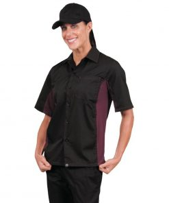 Chef Works Unisex Contrast Shirt Black and Merlot XS