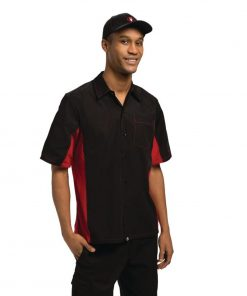 Chef Works Unisex Contrast Shirt Black and Red XL