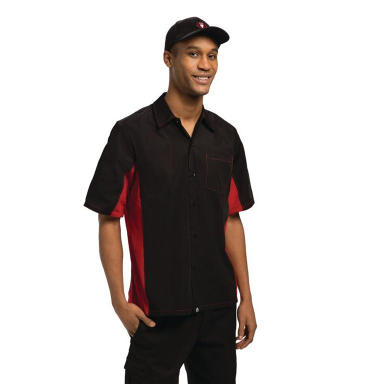 Chef Works Unisex Contrast Shirt Black and Red 2XL