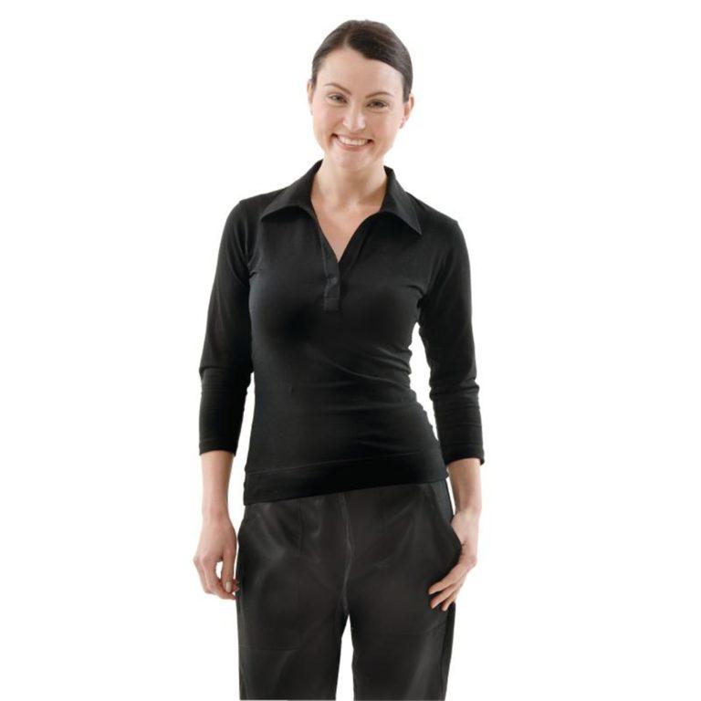 Uniform Works Womens V-Neck T-Shirt Black S