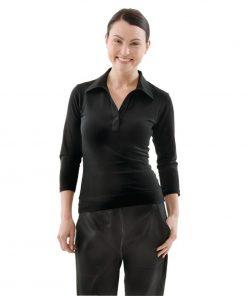 Uniform Works Womens V-Neck T-Shirt Black XS