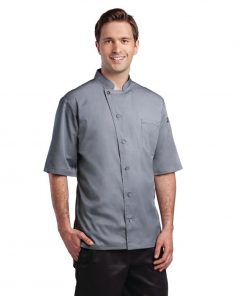 Chef Works Valais Unisex Chefs Jacket Black with Grey 2XL