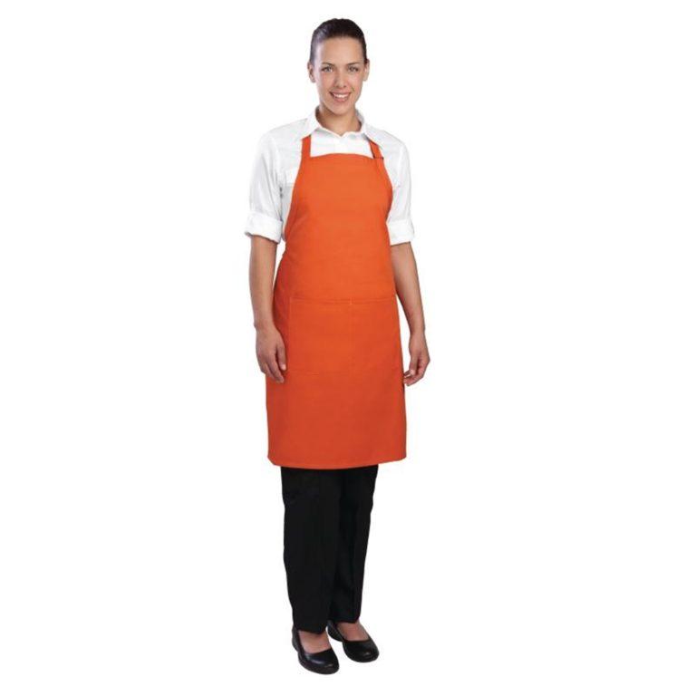 Chef Works Bib Apron Orange