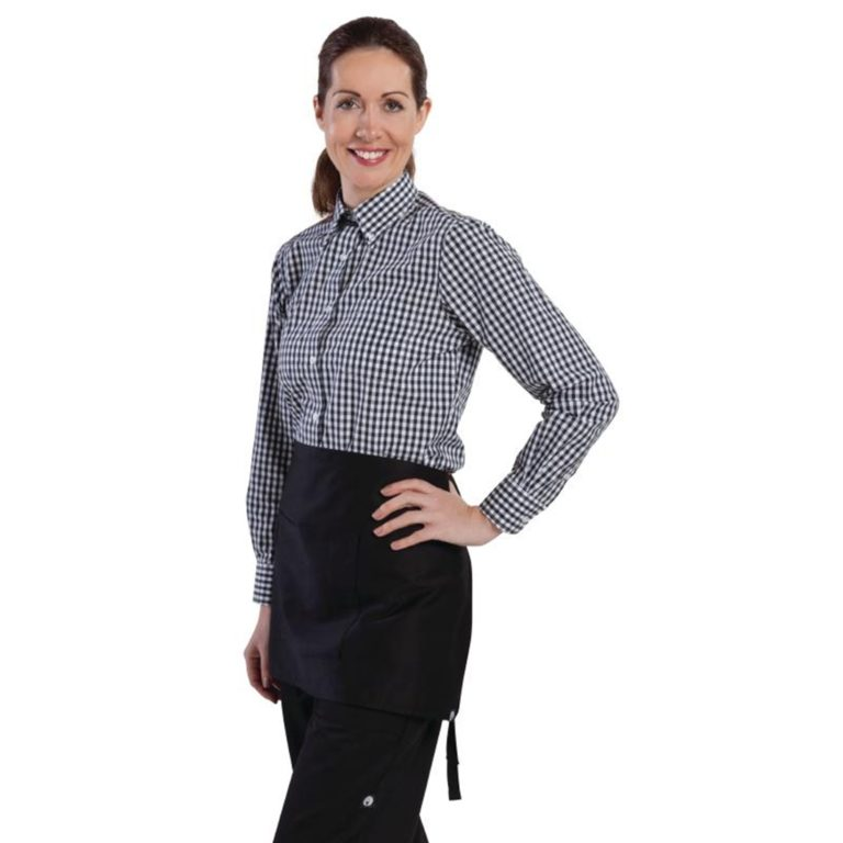 Uniform Works Womens Gingham Shirt Black L