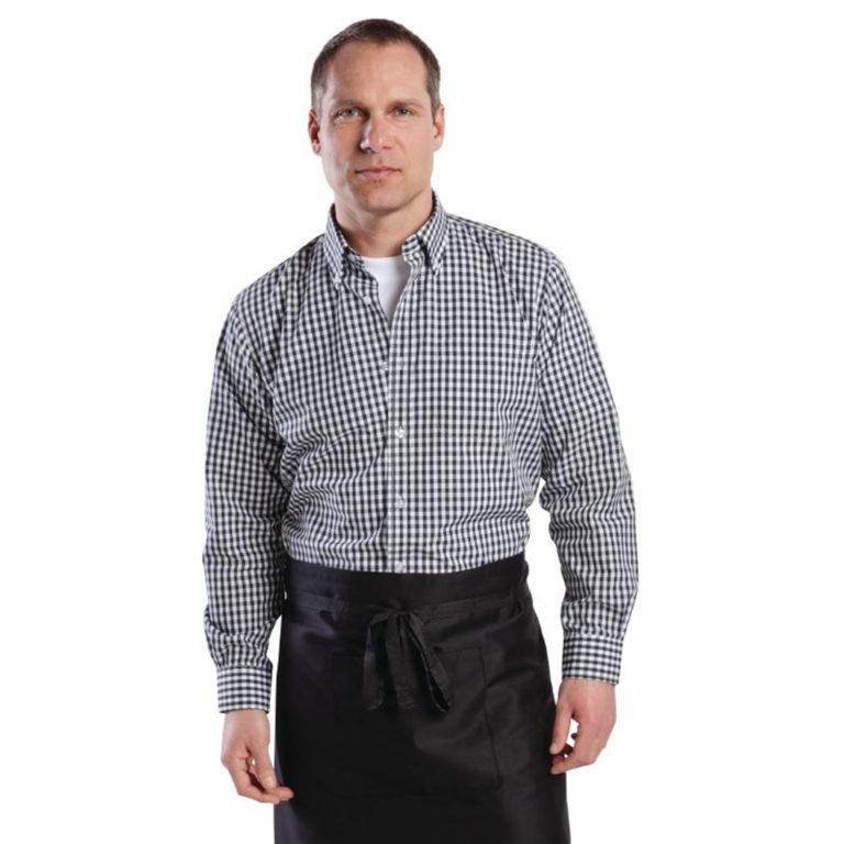 Uniform Works Mens Gingham Shirt Black L