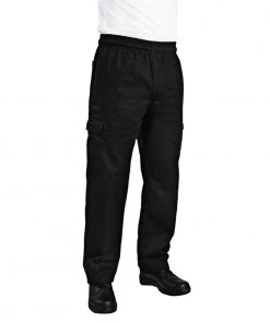 Chef Works Unisex Slim Fit Cargo Chefs Trousers Black XS