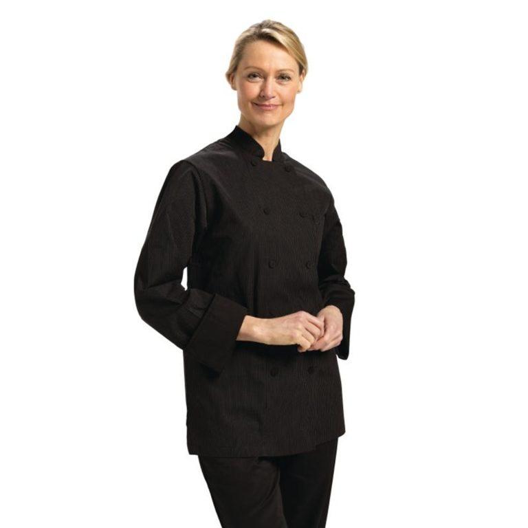 Chefs Works Carlisle Executive Unisex Chefs Jacket Black Pinstripe XS