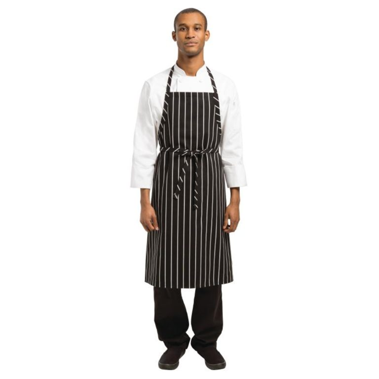 Chef Works Premium Woven Bib Apron Black and White Stripe