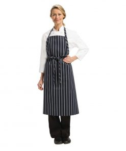 Chef Works Premium Woven Bib Apron Navy and White Stripe