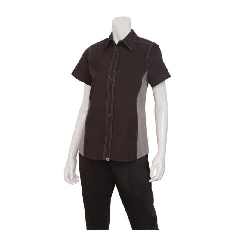 Chef Works Womens Universal Contrast Shirt Black Grey L