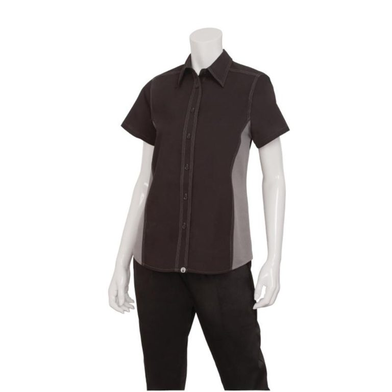 Chef Works Womens Universal Contrast Shirt Black Grey 2XL
