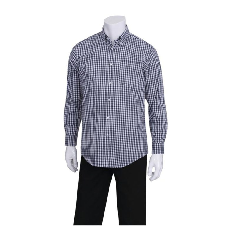 Uniform Works Mens Dress Shirt Dark Navy Gingham S