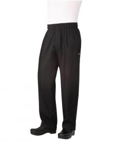Chef Works Unisex Basic Baggy Zip Fly Chefs Trousers Black M