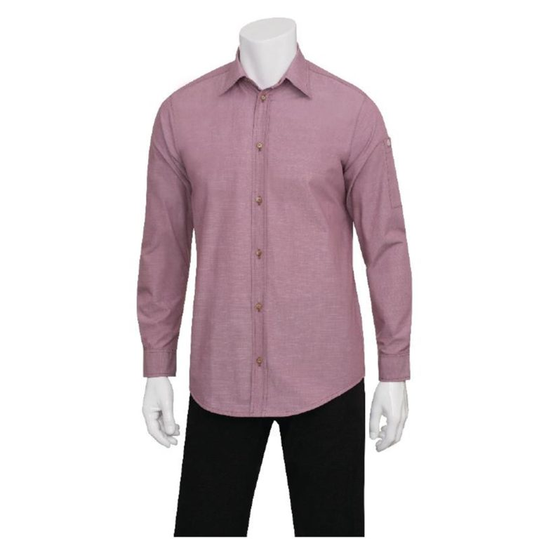 Chef Works Chambray Mens Long Sleeve Shirt Dusty Rose XS