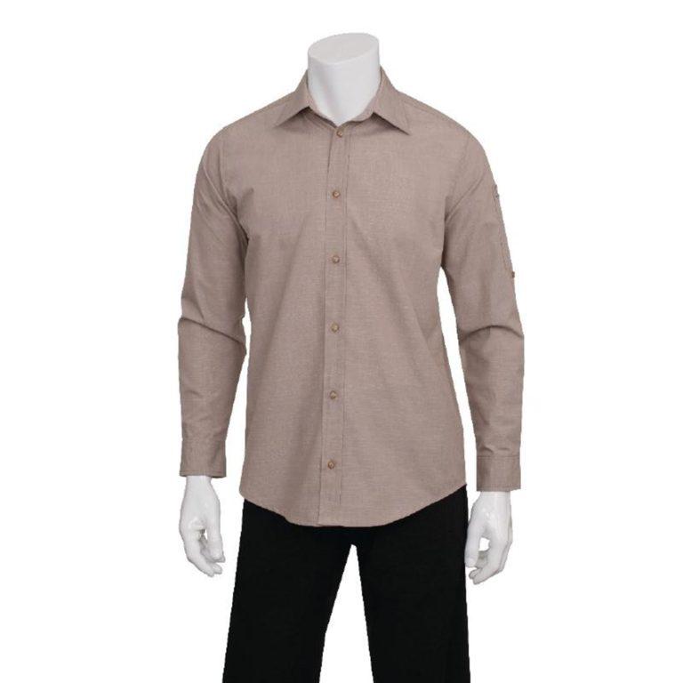 Chef Works Chambray Mens Long Sleeve Shirt Ecru S