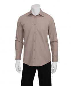 Chef Works Chambray Mens Long Sleeve Shirt Ecru XS