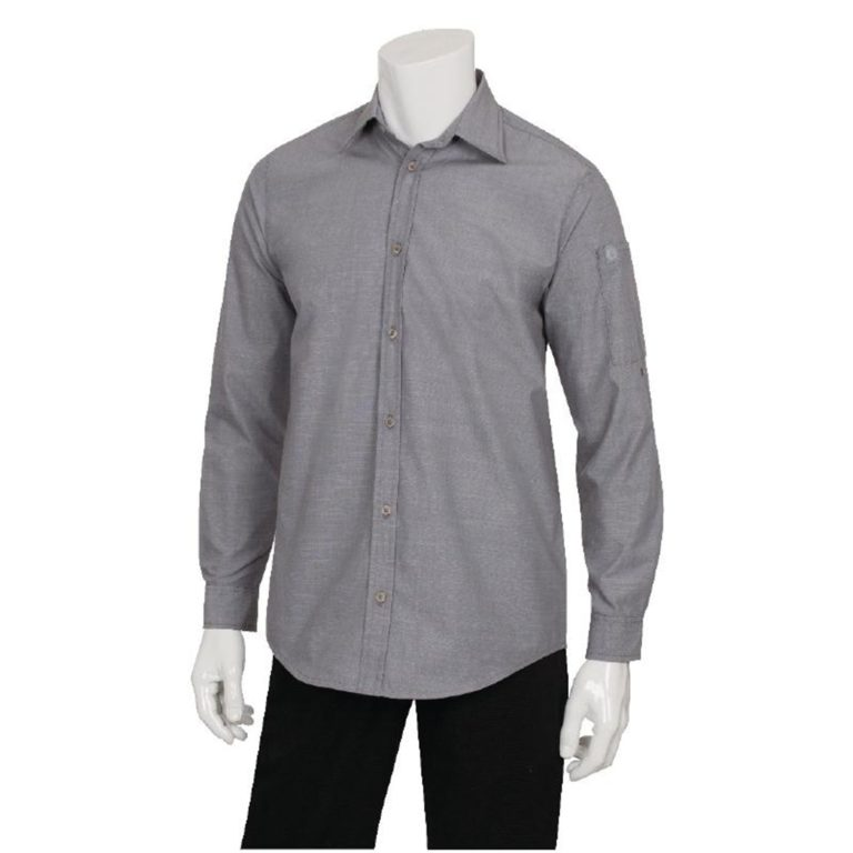 Chef Works Chambray Mens Long Sleeve Shirt Grey L