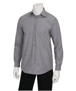 Chef Works Chambray Mens Long Sleeve Shirt Grey XS