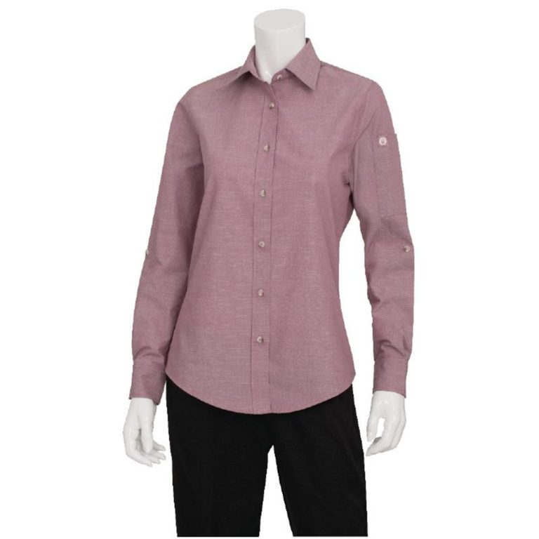 Chef Works Womens Chambray Long Sleeve Shirt Dusty Rose L