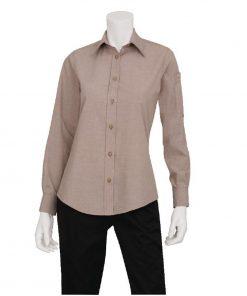 Chef Works Womens Chambray Long Sleeve Shirt Ecru L
