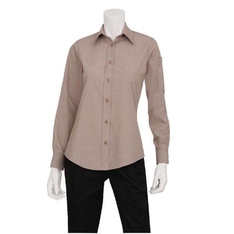 Chef Works Womens Chambray Long Sleeve Shirt Ecru S