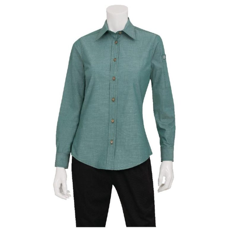 Chef Works Womens Chambray Long Sleeve Shirt Green Mist L