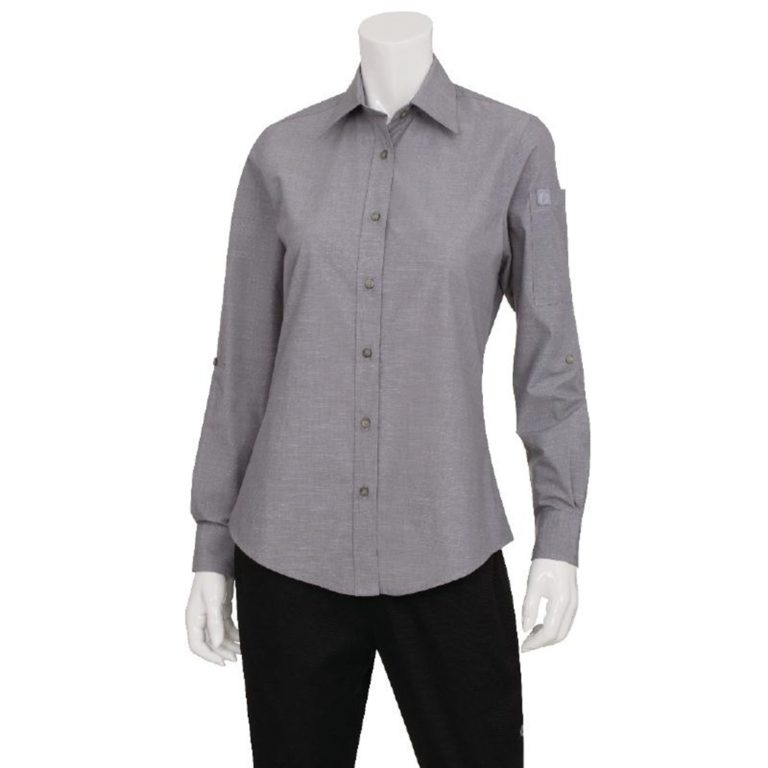Chef Works Womens Chambray Long Sleeve Shirt Grey XS