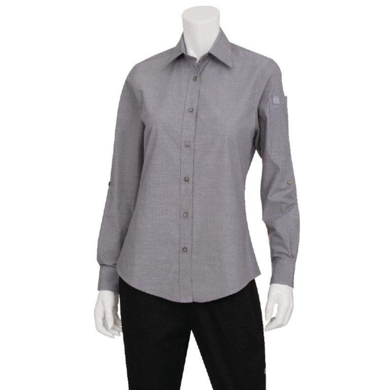 Chef Works Womens Chambray Long Sleeve Shirt Grey 2XL