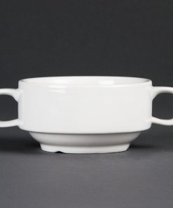 Olympia Whiteware Soup Bowls With Handles 400ml 14oz