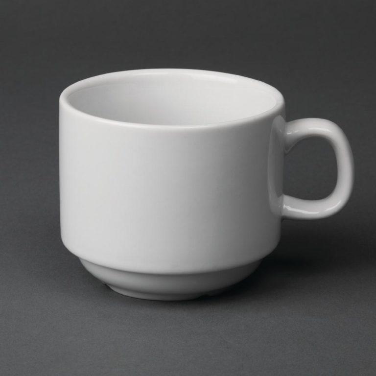 Olympia Whiteware Stacking Tea Cups 200ml 7oz