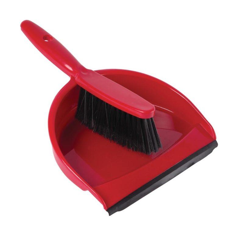 Jantex Soft Dustpan and Brush Set Red