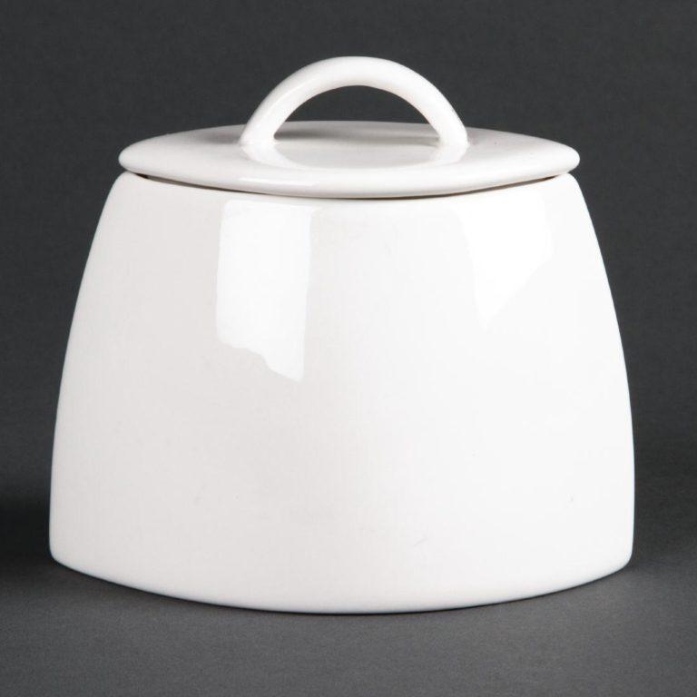Lumina Fine China Oval Sugar Bowls with Lids 75mm
