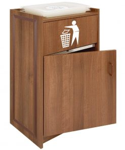 Walnut Litter Bin with Tray Stand 90Ltr
