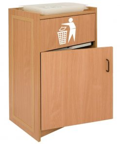 Beech Litter Bin with Tray Stand 90Ltr