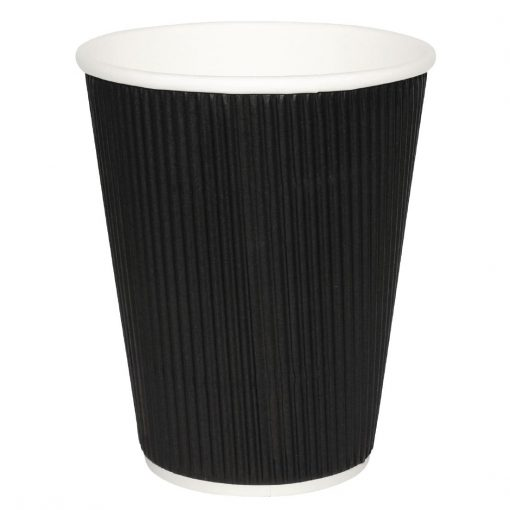 Fiesta Ripple Wall Takeaway Coffee Cups Black 225ml / 8oz x 25