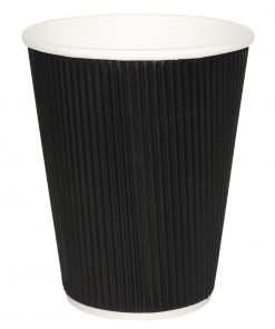 Fiesta Ripple Wall Takeaway Coffee Cups Black 340ml / 12oz x 25