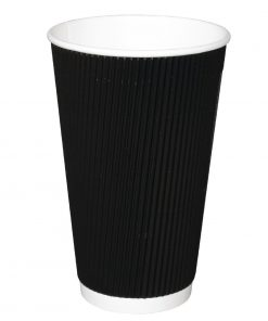Fiesta Ripple Wall Takeaway Coffee Cups Black 455ml / 16oz x 25