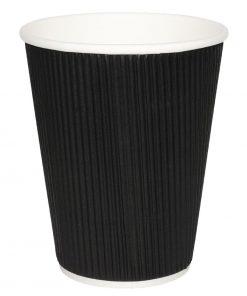 Fiesta Ripple Wall Takeaway Coffee Cups Black 340ml / 12oz x 500